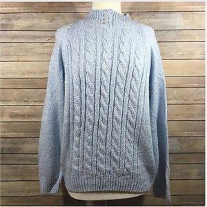 Karen Scott Cable Knit Mock Neckline Sweater D8